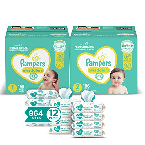 Pampers Baby Diapers and Wipes Starter Kit, Swaddlers Disposable Baby Diapers Sizes 1 (198 Count) & (186 Count) with Sensitive Water-Based Baby Wipes, 12 Pop-Top and Refill Combo Packs, 864 Count
