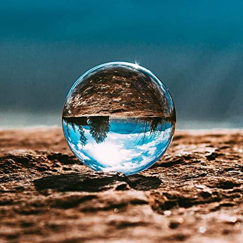 Kioneer, Sfera di cristallo trasparente con supporto, 110 mm, ideale come ornamento e decorazione per la casa o per una festa, Cristallo, 3.14in(8cm)