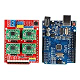 DishyKooker One Set 4 piezas A4988 placa de expansión para controlador para Arduino + UNO R3 con cable USB + CNC Shield V3 máquina de grabado 3D impresora