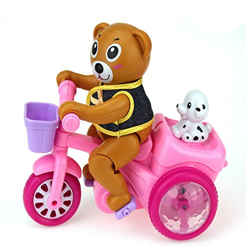 ZHAOHUIFANG Jouet électrique De Bébé Courra l'ours Voyageant Tricycle Winnie l'ours Petit Animal Jouet des Hommes Et des Femmes 1-2 Ans Septembre-décembre,Pink-#1