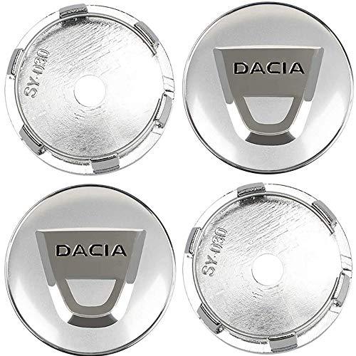 4 Piezas, Tapas centrales, para Renault Dacia Duster Logan Sandero Lodgy 60mm Aleación Centro Tapacubos con Emblema De Insignia Pegatina
