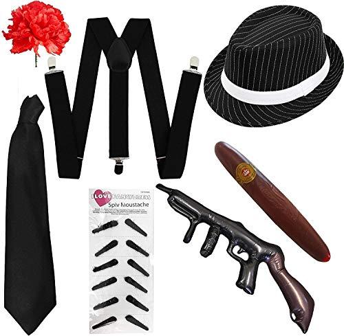 I LOVE FANCY DRESS LTD Kit Costume al Capone da 7 Pezzi per Adulto Kit Accessori Costume Gangster Anni '1920 - Set GESSATO Nero - Perfetto per Costumi Gangster (Taglia Unica)