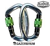 Mosquetones de escalada Gazerbrum, 2 unidades, mosquetón de puerta de tornillo, resistente, certificado CE para escalada y rappel, correa de perro, hamacas, forma de D