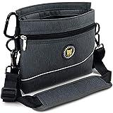 Viklluyr Dog Treat Pouch Bag with Magnetic Closure, 2 Zip Pockets, Dog Food Bag with Removable Inner Pocket, Padded Shoulder Strap, Perfect Food Bag for Agility Training - Including Carabiner