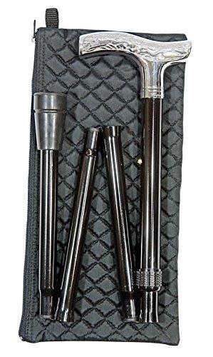 Gehstock ALTER FRITZ Silber, Fritzgriff aus hochwertigem Acryl glanzverchromt, Stock aus stabilem Leichtmetall mit Chromring, faltbar und höhenverstellbar, inklusiv Gummipuffer.