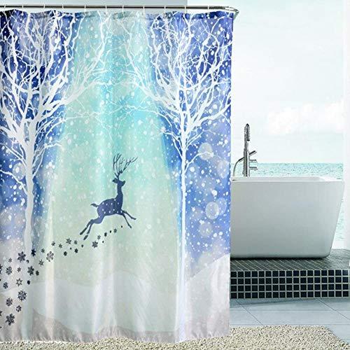 LLAIT Weihnachts-Duschvorhang, für Badezimmer, Schneemann, Bedruckt, wasserdicht, Weihnachtsdekoration, 27,180 x 180 cm