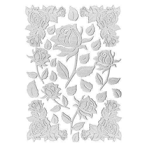 3-D Sticker Deluxe | Zur Hochzeit, Verschiedene Hochzeitsmotive | Erhabene Aufkleber | Bogengröße: 21 x 30 cm (Deluxe Rosen | Silber)