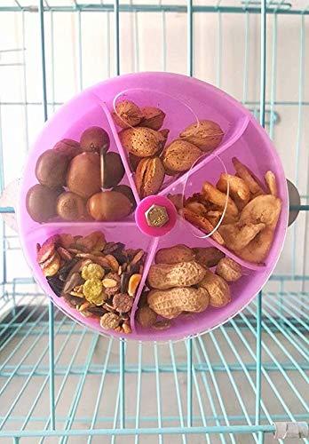 LINSUNG Vogel Nahrungssuche Spielzeug Samen Futter Ball Drehen Rad für Papagei Wellensittich Sittich Nymphensittich Conure Afrikanischen Grau Kakadu Ara Amazon Lovebird Finch Canary Cage Feeder purple