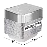 Foil Pans with Lids - 9x13 Aluminum Pans with Covers by StockHomery – 20 Foil Pans and 20 Foil Lids – Half Size Deep Steam Table Pans - Be it for Storage or Frying pan (20 count with lid)