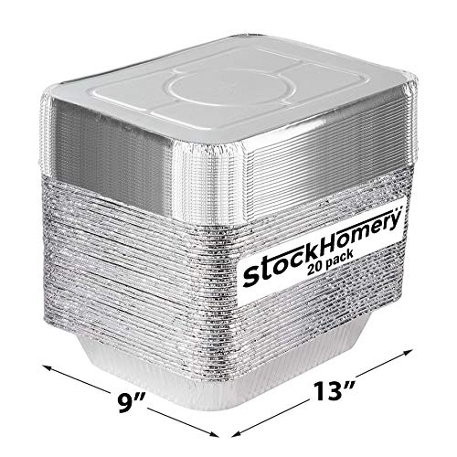 9 X 13 Half Size Disposable Aluminium Foil Baking Pans by StockHomery – Heavy-Duty Foil Pans – Be it Lunch Box or Food Leftover Storage or Frying pan (20 count) (with lid)