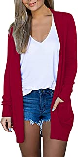 Womens Ladies Solid V-Neck Cardigan Long Sleeve Coat Pockets Outerwear Hoodies Outerwear Sweatshirt Coat Overcoat