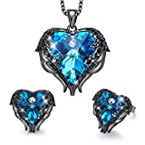 CDE Vampire Jewelry Sets for Women Mother's Day Jewelry Gifts Heart of Ocean Pendant Necklace and Studs Earrings Crystals from Austrian Crystals Dark Blue Pendant Necklace Set Women Gift for Mom