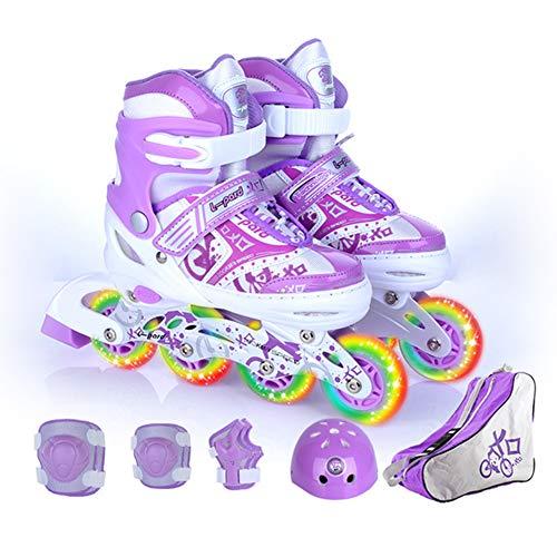 HealHeatersⓇ Inline Skates Kinder Inliner Für Kinder Und Erwachsene Mit 8 Räder Beleuchtung Und 4 Einstellbare Grössen,Lila,L(39~42 EU)