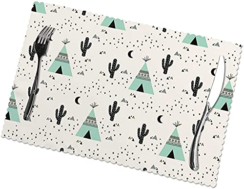 Moon Southwest Teepee Table Mats Set of 6 Washable Heat Insulation Non-Slip Placemat for Dining Table Mats 12x18 Inch