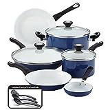 Farberware 17490 Ceramic Dishwasher Safe Nonstick Cookware Pots and Pans Set, 12...