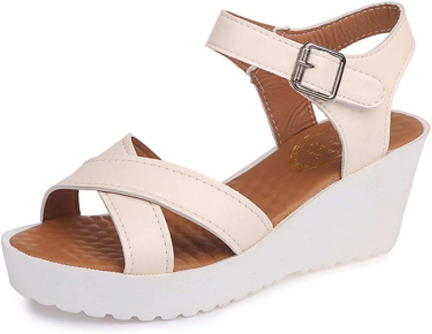 Women's Platform Wedges Mid Heel Summer Buckle Strap Sandals Casual Ladies Antislip Soft Sandals
