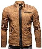 Crone Epic Herren Lederjacke Cleane Leichte Basic Jacke aus weichem Schafs-Leder (M, Vintage Braun (Wildleder))