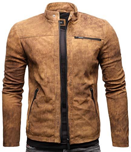 Crone Epic Herren Lederjacke Cleane Leichte Basic Jacke aus weichem Wildleder (L, Vintage Braun (Wildleder))