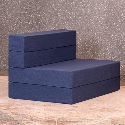 Molblly Folding Mattress, 4.5-Inch Folding Portable Twin Mattress Topper, Memory Foam Mattress Pad Sofa Bed, Play Mat Floor Foam Mattress Topper with Washable Cover for Guest Sleeper-39X75X4.5''