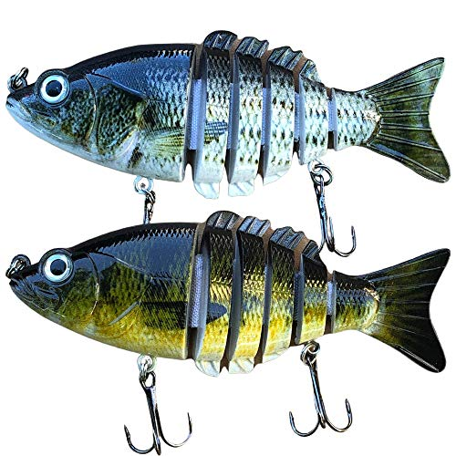 Bass Fishing Lures for Bass or Trout Set of 2, 4' Length with 6 Segment Multi Jointed Body Swimbaits Slow Sinking Bionic Swimming Lures Freshwater Saltwater Bass Fishing Lures Kit Lifelike 21 Grams