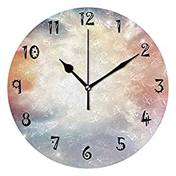 nonbrand Art Rectangle Wooden Round Wall Clock Arabic Numerals Design Non Ticking Wall Clock Large for Bedrooms,Living Room,Bathroom