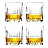 Juego de 4 vasos de whisky, vasos de 8 onzas, vasos de cristal para cócteles, bourbon, ginebra, voldka, brandy