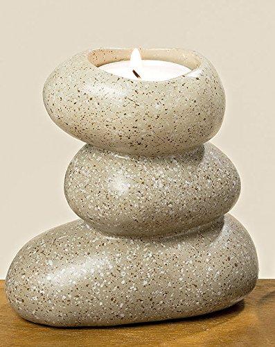 Boltze Portavelas para Vela pequeña Modelo Piedras Zen en Gris (10cm)