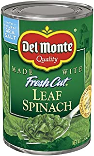 Del Monte Canned Fresh Cut Leaf Spinach, 13.5-Ounce (Pack of 12)