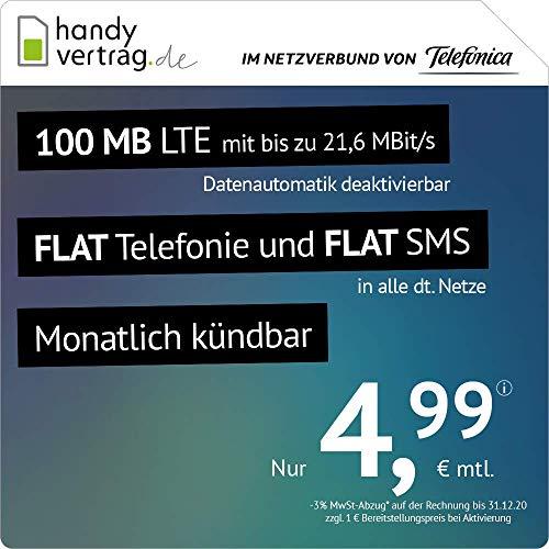 mächtig Handyvertrag.de LTE Alle 100 MB: Kann monatlich gekündigt werden (bis zu 21,6 MBit / s 100 MB LTE Flat Internet…