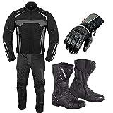 Traje de moto con guantes de carrera, botas de moto, zapatos de cuero, 2 piezas, traje blindado impermeable, chaqueta de pantalón, armadura CE para todo tipo de clima, para hombre, talla 6 extragrande