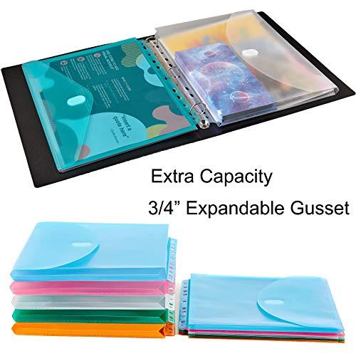 FANWU 10 Pack Expandable Poly Binder Pocket, 3/4-inch Gusset, Letter Size, 11 Holes Punched, Index Dividers Pocket Folders Plastic Envelopes Clear Document Folders for Ring Binder Photo #5