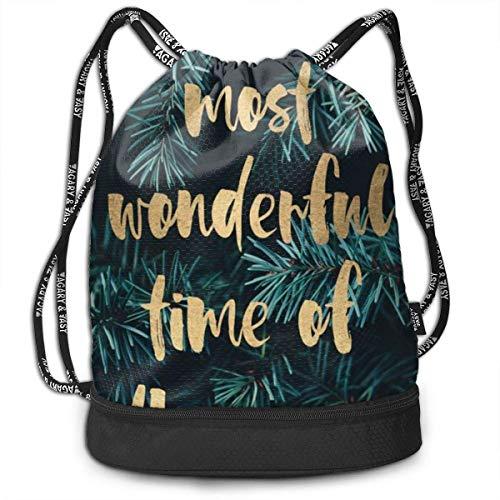 FedoraSale Inspirational Language Print Unisex Drawstring Bag Stylish Lightweight Sackpack Sport Gym Bundle Backpack One Size