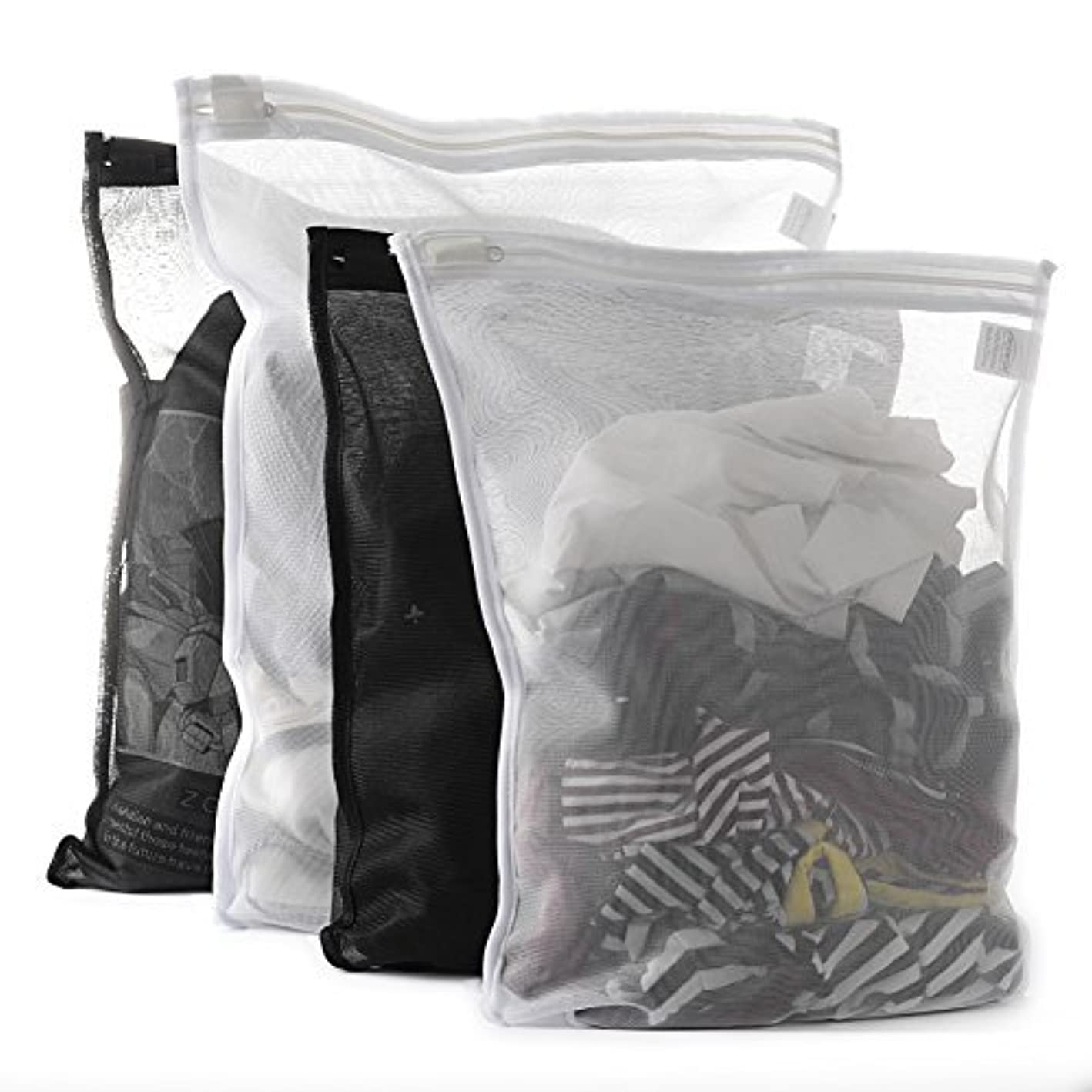 TENRAI 4 Pack (2 Large & 2 Medium) Delicates Laundry Bags, Bra Fine Mesh Wash Bag, Zippered, Protect Best Clothes in The Washer (2 Black & 2 White, Set of 4)