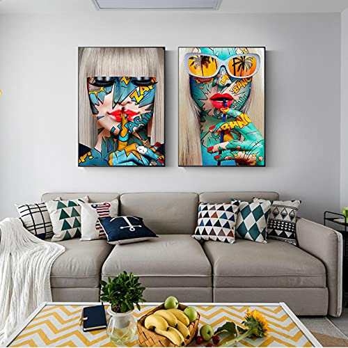 YRWL Impresión en Lienzo Pintura Graffiti Rojo Labios Shush Gafas Chica Bebida Arte Cuadro de la Pared Sala de Estar decoración del hogar Cartel de Las Mujeres 70x100cmx2 sin Marco