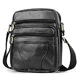 BAGZY Bolso Para Hombre Piel Bolso Mensajero Pequeño Bolsa de Cuero Hombre Bolso bandolera Bolsa de Hombro bolsa Cruzada Cuerpo Negro