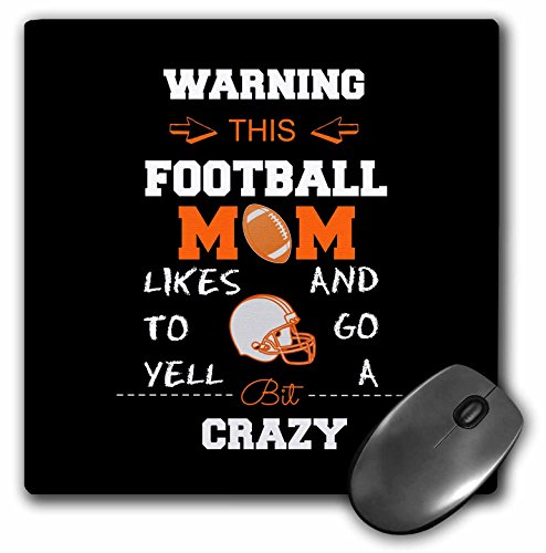 Warning this football mom likes to go crazy orange and black - Mouse Pad, 8 by 8 inches (mp_219891_1)