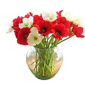 Dirance 10 Heads Bouquet Realistic Lifelike Artificial Fake Mini Real Touch Poppies PU Flowers Home Party Decoraion Gift (Red)