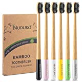 Biodegradable Bamboo Toothbrush, Natural Charcoal toothbrushes Soft Bristle Toothbrush Eco-Friendly Sustainable Toothbrush BPA Free Organic Compostable Travel Toothbrushes Wooden toothbrushes, 6 Pack