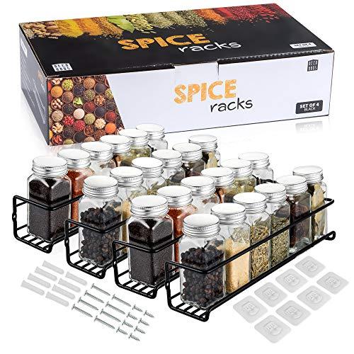 Deco haus Gewürzregale aus Metall - 4er Set - Für Gewürze, als Küchenablage, Schrankeinsatz, Organizer, Badregal, Dekoration - Perfekt für unsere 24 Gewürzgläser - Schwarz - 29 x 6,35 x 5 cm