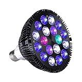 Uonlytech - Luz LED para acuario, 12 W, para agua salada, agua dulce, arrecifes de coral, algas, acuario, iluminación, plástico, Negro , 45W
