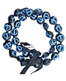 """Barbra Collection Hawaiian Style Kukui Nut Lei Beads Necklaces with Hand Painted Turtle Adjustable 32"""" Leis for Men and Women (Turquoise)"""