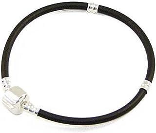 Andante-Stones - Bracciale in caucciù con chiusura a clip (22 cm) per European Beads + sacchetto in organza