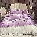 juego de funda nórdica cama 150-Princesa feng shui lavado seda simple color bordado encaje bicicleta encuadernación bizcocho sábanas abajo acolchado almohada zócalo conjunto-Volar_1,8 m de cama (4 pi