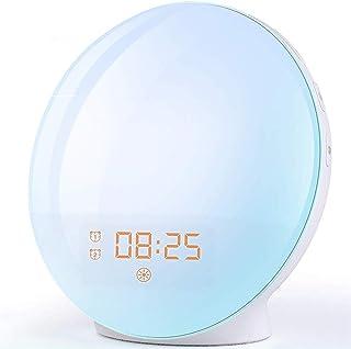 Radio Réveil Matin avec Effets Lumineux Lampe de Chevet avec 20 Alarmes Luminosité Programmables, Simulation du Lever et d...