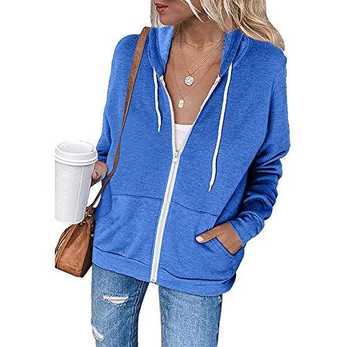 Chaqueta con Capucha y Cremallera de Manga Larga para Mujer Sudadera de Color sólido Informal Suelta con Frente Abierto (Azul, L)