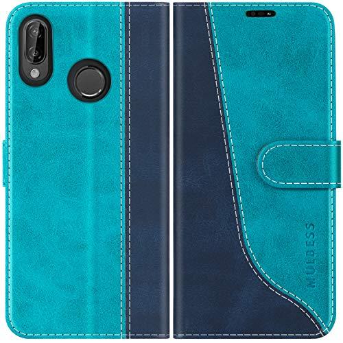 Mulbess Custodia per Huawei P20 Lite, Cover Huawei P20 Lite Libro, Custodia Huawei P20 Lite Pelle, Flip Cover per Huawei P20 Lite Portafoglio, Blu Mint