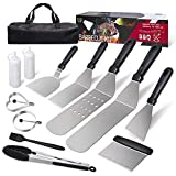 AClocod Griddle Accessories Kit,Flat Top Grill Tools Set with Carry Bag,12PCS Stainless Steel Barbecue Utensil Tool in Gift Box,Heat Resistant BBQ Spatula Scraper for Indoor,Outdoor,Camping or Cooking