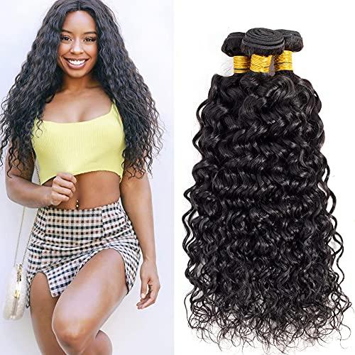 Human Hair Bundles Water Wave Hair Extensions 10A Brazilian Unprocessed Virgin Human Hair Curly Weave Bundles Wet and Wavy Human Hair 3 Bundles 12 14 16