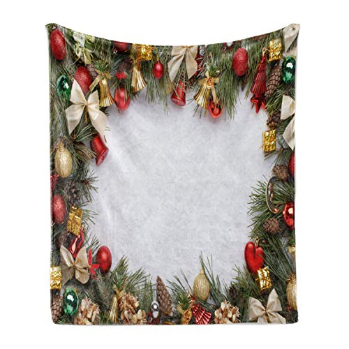 Ambesonne Christmas Soft Flannel Fleece Throw Blanket, Garland Design Ornament on Evergreen Boughs Foliage Night Image, Cozy Plush for Indoor and Outdoor Use, 70' x 90', Multicolor