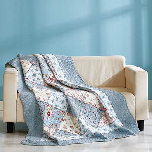 Unimall Tagesdecke Patchwork aus Baumwolle 150x200cm Bettüberwurf für Einzelbett Sofaüberwurf mit Blumen Blau Gesteppte Decke in Landhausstil